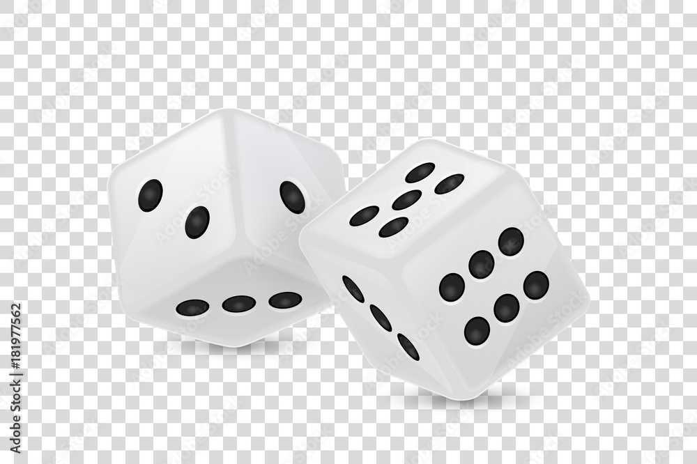Fototapeta Vector illustration of white realistic game dice icon in flight closeup isolated on transparency grid background. Casino gambling design template for app, web, infographics, advertising, mock up etc