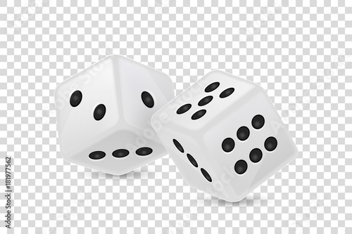 Vector illustration of white realistic game dice icon in flight closeup isolated on transparency grid background Tableau sur Toile
