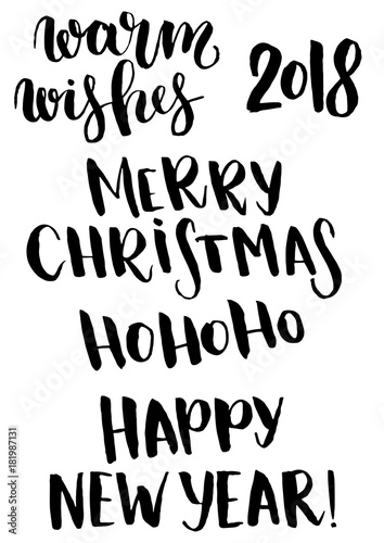 Vector Christmas phrase set. Hand painted Christmas lettering ...