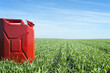 Bio diesel fuel production. Gas can in green field.