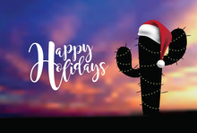 Happy Holidaysin A Desert Climate With Cartoon Cactus And Santa Claus Hat. EPS 10 Vector Illustration.