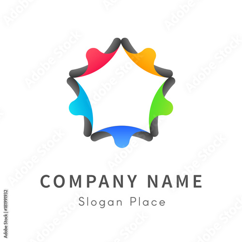 Peoples Are Back To Back Formed A Star Logo On White Background A