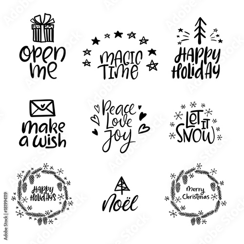 Staande foto Positive Typography Set of Merry Christmas and Happy New Year cards. Modern calligraphy. Hand lettering for greeting cards, photo overlays, invitations, tags. Vector illustration.