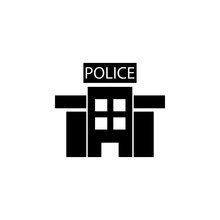 Police Station In Black And White Icon. Police Element Icon. Premium Quality Graphic Design. Signs, Outline Symbols Collection Icon For Websites, Web Design, Mobile, Info Graphics