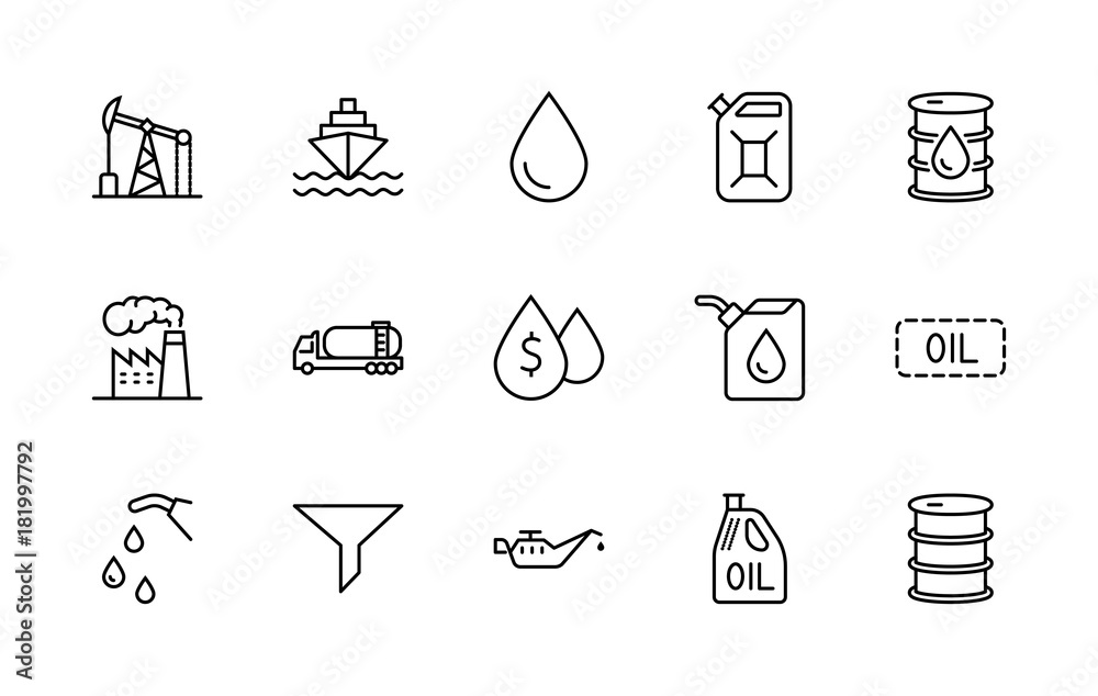 Fototapety, obrazy: Set of Oil Related Vector Line Icons. Contains such Icons as Fuel Truck, Gas Station, Oil Factory, Transportation and more. Editable Stroke. 32x32 Pixel Perfect.