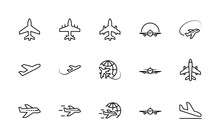 Set Of Plane Vector Line Icon....