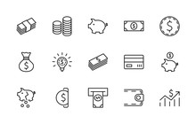 Set Of Money Related Vector Li...