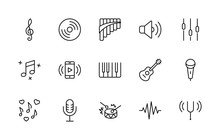 Set Of Music Related Vector Li...