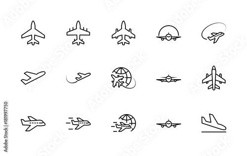 Set of plane vector line icon Wallpaper Mural