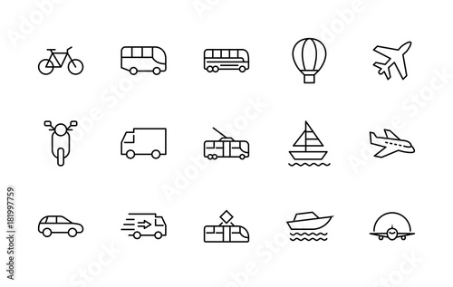 Fényképezés  Set of Public Transport Related Vector Line Icons