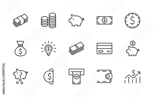Fototapeta Set of Money Related Vector Line Icons. Contains such Icons as Money Bag, Piggy Bank in the form of a Pig, Wallet, ATM, Bundle of Money, Hand with a Coin and more. Editable Stroke. 32x32 Pixel Perfect obraz