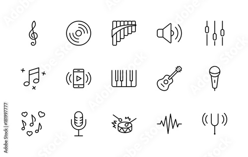 Fotografía  Set of Music Related Vector Line Icons