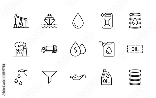 Fototapeta Set of Oil Related Vector Line Icons. Contains such Icons as Fuel Truck, Gas Station, Oil Factory, Transportation and more. Editable Stroke. 32x32 Pixel Perfect. obraz