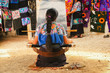 Leinwanddruck Bild - Mexican woman working loom in Chiapas Mexico