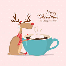 Vector Pink Greeting Card With Reindeer And Cup Of Coffee. Merry Christmas And Happy New Year