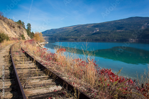 View of okanagan lake british columbia railway