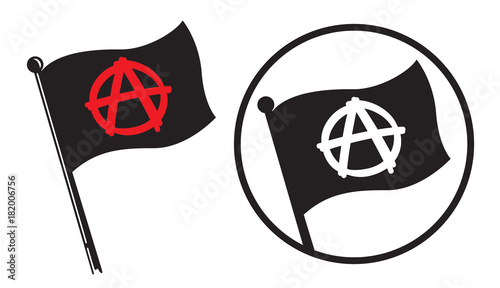Obraz na płótnie Anarchy Black Flag Icons