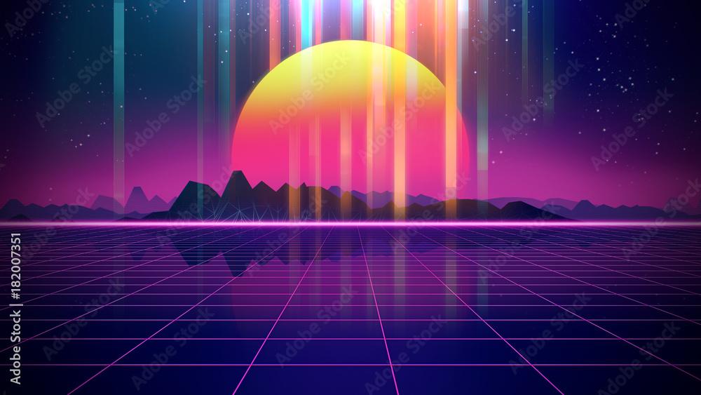 Fototapeta Retro futuristic background 1980s style 3d illustration.