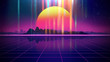 canvas print picture - Retro futuristic background 1980s style 3d illustration.