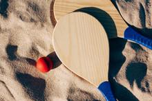 Beach Tennis, Beach Paddle Ball, Matkot. Beach Rackets And Ball On The Beach