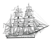 Barque Hand Drawing Engraving ...