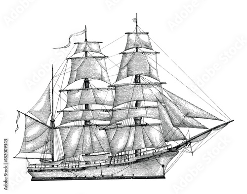 In de dag Schip Barque hand drawing engraving style,Vintage barque isolate