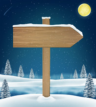Direction Wood Board Sign On C...