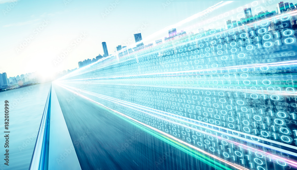 Fotografiet  Highway flyover with binary code numbers on motion blurred asphalt  road , speed and faster digital matrix technology information concept