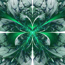 Abstract Exotic Green Flower With Textured Petals. Fantastic Symmetrical Fractal Design. Psychedelic Digital Art. 3D Rendering.