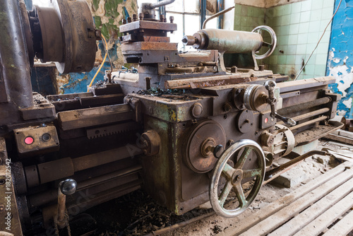 Old abandoned factory rooms, lathes