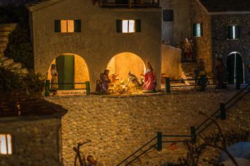 Christmas Nativity scene in village