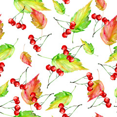 Panel Szklany Owoce Watercolor vintage seamless autumn background. With paint divorces red, orange, green yellow. With autumn leaves, red berries. Beautiful, stylish stylish background.