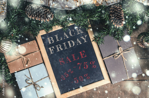 Black Friday Christmas Decorations.Christmas Decor Black Friday Free Space For Text Top View