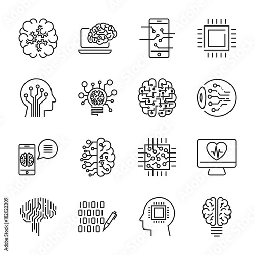 Fotografie, Obraz  Simple set of artificial intelligence related line icons contains such icons as droid, eye, chip, brain