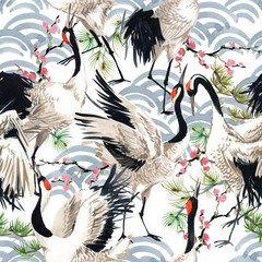 Fototapeta Zwierzęta Japanese crane bird seamless pattern, watercolor illustration.