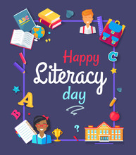 Happy Literacy Day Images Vect...