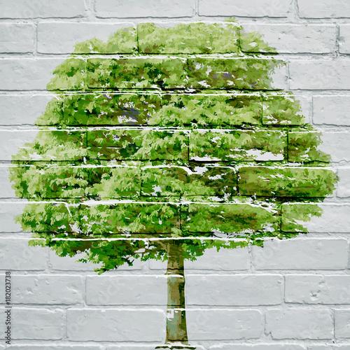Graffiti. Drzewo wiosną