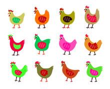 Cute Chicken Vector Collection