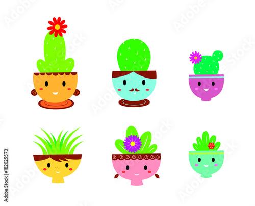 cute happy family cactus plant vector