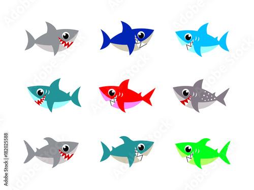 cute baby shark vector vector collection Canvas Print