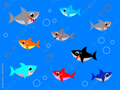 Photo cute baby shark vector vector collection