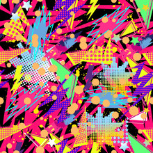Abstract Seamless Vector Pattern For Girls, Boys, Clothes. Creative Background With Dots, Geometric Figures Funny Wallpaper For Textile And Fabric. Fashion Style. Colorful Bright
