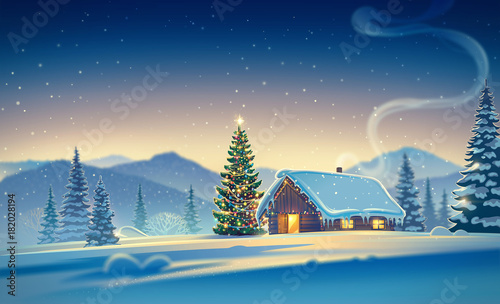 Fotobehang Nachtblauw Forest landscape with winter house and festive christmas trees. Raster illustration.