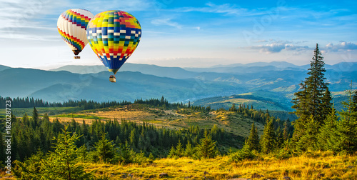 Recess Fitting Balloon Colorful hot-air balloons flying over the mountains. Artistic picture. Beauty world.