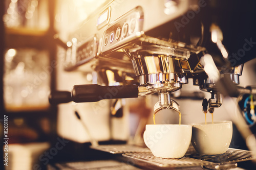 Morning coffee preparation. Coffeemaker. Fototapet