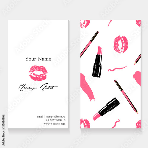 Makeup artist business card template cosmetics seamless pattern makeup artist business card template cosmetics seamless pattern background pink imprint of lips kissing colourmoves