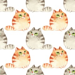 Fototapeta Watercolor cartoon cats, seamless pattern 5