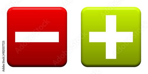 фотография Roter Button zeigt Minus Grüner Button zeigt Minus