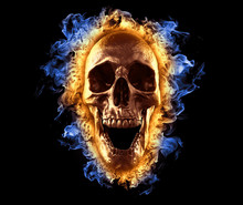 Skull In Fire Wallpaper 3d Ill...