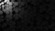Abstract Black Hexagonal Backg...